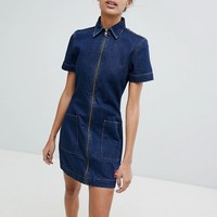 Calvin Klein Jeans Zip Through Denim Dress at asos.com