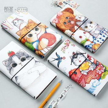 The AFU Cat PU Leather Cover Planner Notebook Diary Book Exercise Composition Binding Note Notepad Gift Stationery