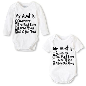 My Aunt Is Awesome The Best Ever Loved By Me All Of The Above Baby Infant Kid Onesuit