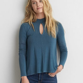 AEO Soft & Sexy Mock Neck T-Shirt , Teal