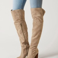 Not Rated Andra Over The Knee Boots-Taupe