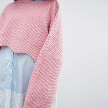 STYLENANDA Cropped Wiggle Hem Knitted Sweater at asos.com
