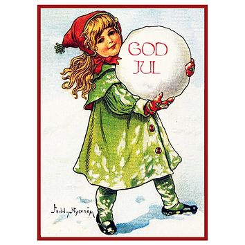 Young Girl with a Snow Ball God Jul Jenny Nystrom Holiday Christmas Counted Cross Stitch Pattern