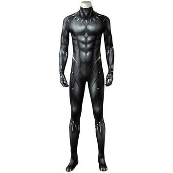 Cool Avengers 3 :Infinity War Black Panther T Challa bodysuit Halloween Cosplay Costume Outfit Jumpsuit Men and WomenAT_93_12