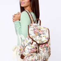 Billabong For Keeps White Floral Print Backpack