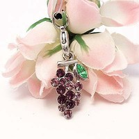 Purple Grapes Cell Phone Charm Strap Rhine Stone
