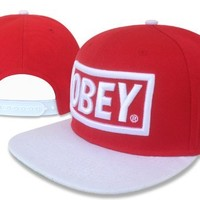 Obey Snapback Hat/cap (Red with White Brim)
