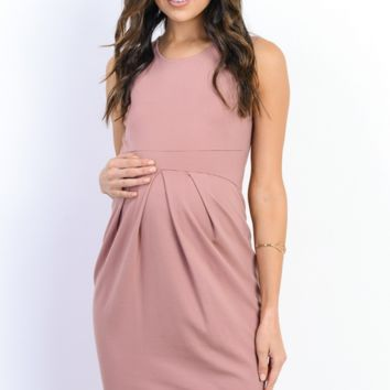 Soft Front Pleat Pink Maternity Dress