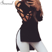 Lace up side split irregular sweater autumn winter knitting clothes women sweaters and pullovers slim v neck sexy hot jumpers