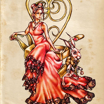 Print, Queen of Hearts with White Rabbit on Vintage Paper, Nursery Art, Wall Decor, red, drawing, fairy tale, fantasy, Alice in Wonderland