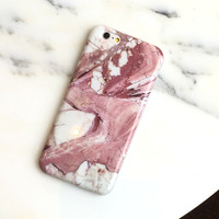 Pink & White Glossy  Marble Case For iPhone 6 6s, 6plus 6splus