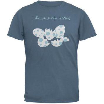 DCCKJY1 Jurassic Dino Eggs Life Finds a Way Indigo Blue Adult T-Shirt