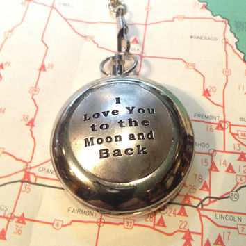 Compass on a Pocket Watch Chain - Working Compass -  I Love You to the Moon and Back
