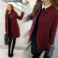 Scoop Slim Solid Button Pockets Long Coat