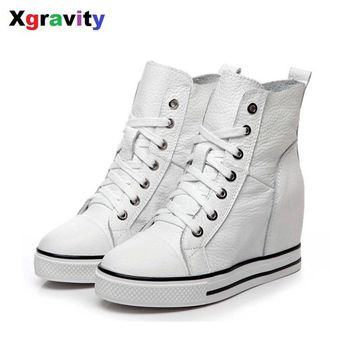 2017 New Unique Heel Increasing Lady Fashion Ankle Wedge Boots Litchi Skin Genuine Leather Women Warm Shoes Winter Boots S011