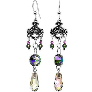 Handcrafted Silver Plated Victorian Vibrance Earrings Created with Swarovski Crystals