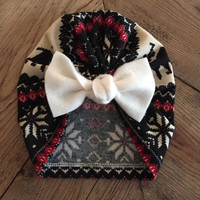 Ready To Ship - Arrives by Christmas! Newborn Infant Christmas Turban // Bow Hat