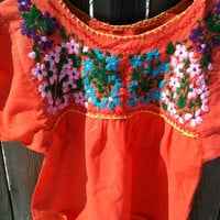 Vintage Hand Embroidered Mexico Top
