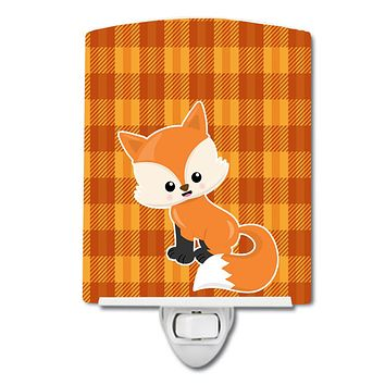 Baby Fox Gingham Ceramic Night Light BB7087CNL
