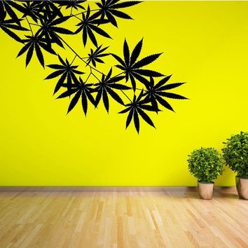 Cannabis, Hemp, Marijuana Leaves Growing Out of The Wall - Multiple Sizes & Colors - CannaDecor