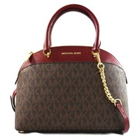 DCCK2JE MICHAEL Michael Kors EMMY Women's Shoulder Handbag LARGE DOME SATCHEL (Brown/Cherry)