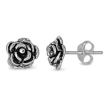 Sterling Silver Rose / Flower Stud Earrings