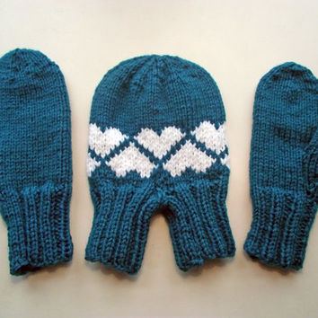Smitten Set, Love-Gloves, Valentines Day Gift, Double Couples Mitten Set, Dark Turquoise Smitten Set,  Smitten Set Teal with White Hearts