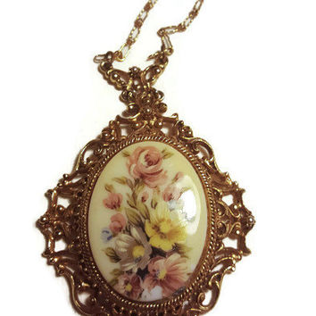 FLORENZA - Vintage Dolly Kei Flower Necklace - 1960s Vintage Victorian Revival