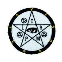 Occult Symbol Pentacle w/ Eye Patch Iron on Applique Dark Clothing