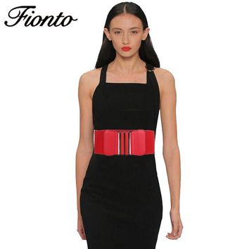 FIONTO Women Belt Simple Stretch Elastic Waistband Wide Metal Waist Belts 5 Colors Ladies Stretch Wide Belt For Girls 451