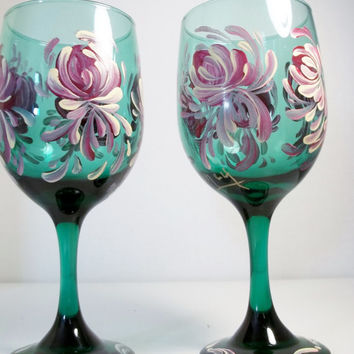 Vintage Green Glass Stemware Hand Painted Original Design Rosemaling, Folk  Style. Set of Two.