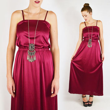 vintage 70s burgundy GODDESS maxi dress / goddess dress / disco maxi dress / 70s disco dress / burgundy maxi dress / draped maxi dress / xs
