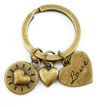 Love Love Love Key Ring - Antiqued Brass Vintage Style Lovely Heart Key Ring Key Chain - Bridesmaids Gifts Ideas - CP022023045
