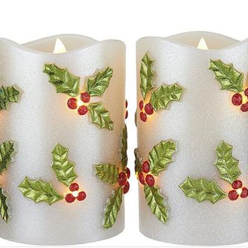 LED Candle Light Flameless Perfect Gift for Holiday Celebration Decoration Premium Quality Patent Design Holly Set of 2