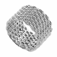 Sterling Silver Thick Mesh Ring Size 7