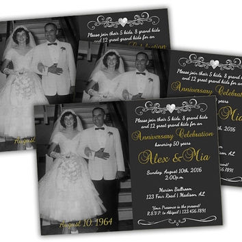 Chalk Photo 50th Anniversary Invitations - Golden Wedding Anniversary Party - Heart Monogram Invitation - Gold and Black Vow Renewal Invite