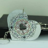 Friendship heart puzzle Key Chains 3 piece set Silver Mirror acrylic Rainbow Mandala