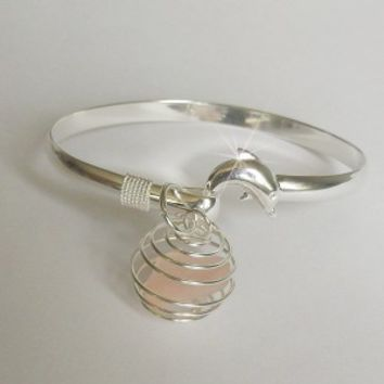 Dolphin Bangle with Pink Sea Glass Bauble