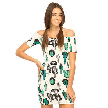 Cactus Printed Off Shoulder Bodycon Mini Dress