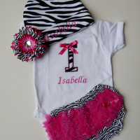 Personalized Monogram Zebra Onesuit Ruffle Butt Bloomers Beanie Hat Baby Girl Set