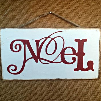 Noel Christmas Rustic Sign / Distressed Wooden Sign / Christmas Decor / FREE Shipping