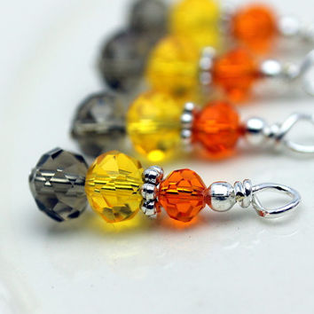 Shades of Fall Autumn Thanksgiving Brown Yellow and Orange Crystal Bead Drop Dangle Charm Set