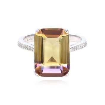 ON SALE - Harmony Emerald Cut Simulated Ametrine Crystal Ring