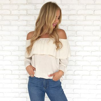 Sandalwood Linen Off Shoulder Top