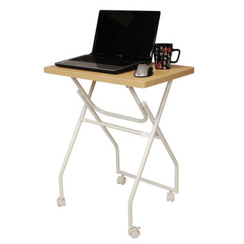 Folding TV Tray Table Laptop Computer Stand with Locking Wheels