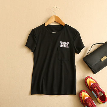 Women's Cat In Pocket Printed Black Short Sleeve Casual Pocket T Shirt