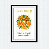 House Tyrell watercolor poster Game of Thrones decor Game of Thrones art print Kids room wall art Nursery room decor Home decoration W614