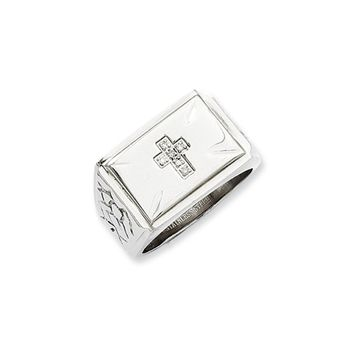 Stainless Steel And .05 Ctw H-I, I2 Diamond Cross Tapered Ring