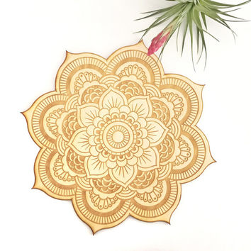 Floral Mandala Wood Sign - Spiritual Wall Art, Wood Mandala, Sacred Geometry Mandala, Geometric Shaped, Bohemian Wall Art, Mandala Wall Art