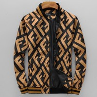 """FENDI"" Autumn Fashion Zipper Cardigan Sweatshirt Jacket Coat Windbreaker Sportswear"